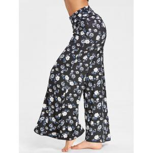 Flower Print Wide Leg Pants -