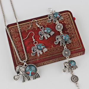 Tree of Life Elephant Necklace Bracelet with Earrings -