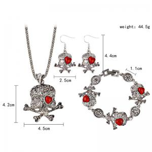 Heart Skull Crossbones Necklace Bracelet with Earrings -