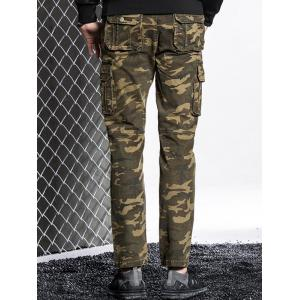 Slim Fit Multi Pockets Camo Cargo Pants -