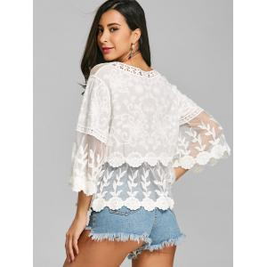 See Through Mesh Insert Embroidered Blouse -