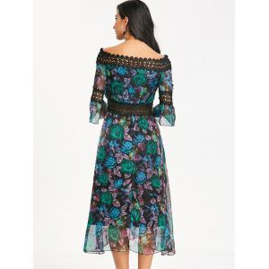 Bell Sleeve Printed Off The Shoulder Midi Dress -