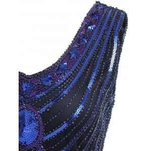 Fringed Sequin Midi Flapper Dress -