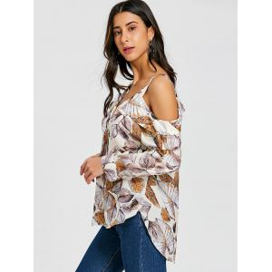 Cold Shoulder Button Up Print Blouse -