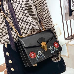Flapped Floral Embroidered Crossbody Bag -