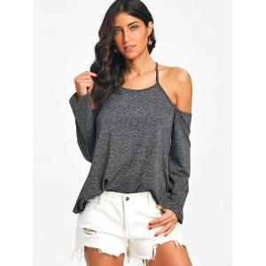 Heathered Cami Strap Cross Backless Top -