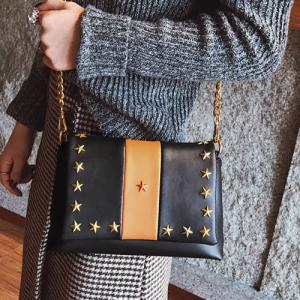 Contrasting Color Stars Striped Crossbody Bag -