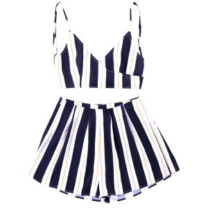 Striped Cami Top with Wide Leg Shorts -