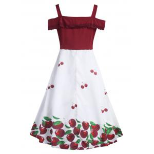 Cherry Plus Size Overlay Vintage 1950's Dress -