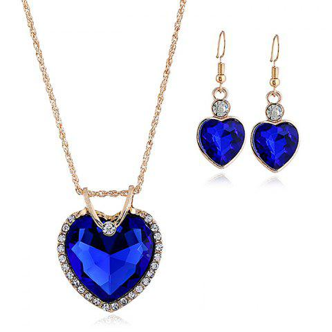 Discount Faux Crystal Cubic Heart Pattern Necklace and Earrings Set