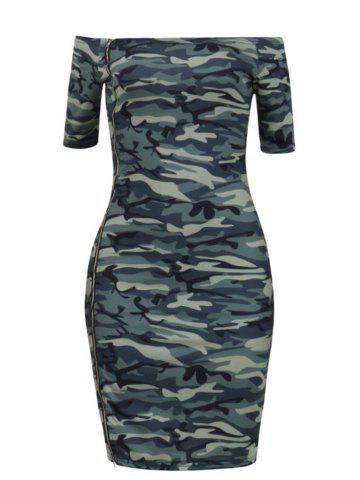 Online Camouflage Off The Shoulder Bodycon Dress