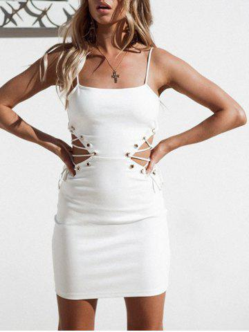 Discount Side Lace Up Open Back Dress
