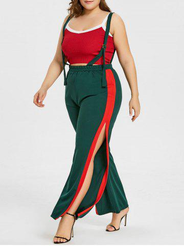 Affordable Plus Size Two Tone Wide Leg Suspenders Pants