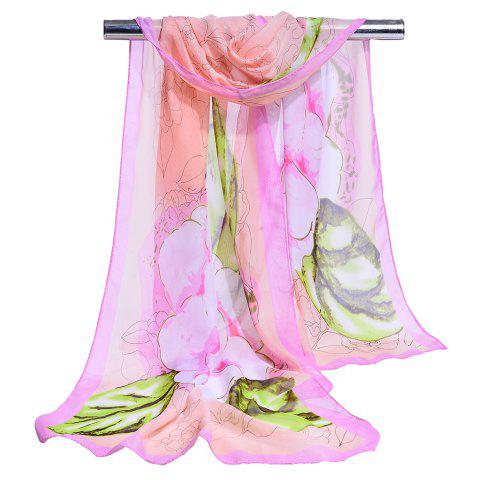 Unique Flourishing Flowers Decorated Silky Scarf