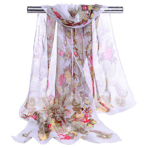 Chic Unique Floral Pattern Embellished Silky Long Scarf