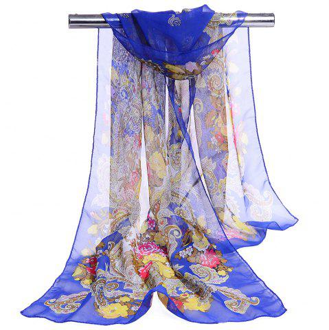 Fancy Unique Floral Pattern Embellished Silky Long Scarf