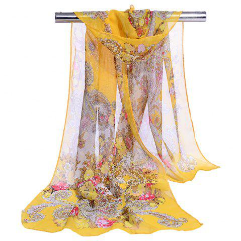 Discount Unique Floral Pattern Embellished Silky Long Scarf