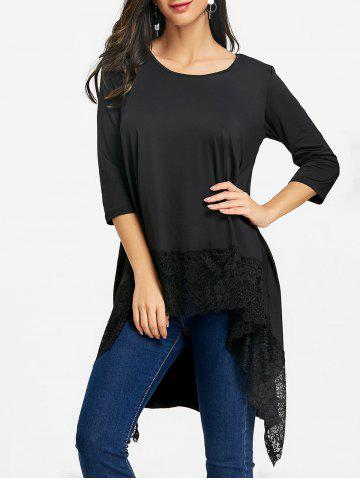 Fancy Lace Trimmed High Low Blouse