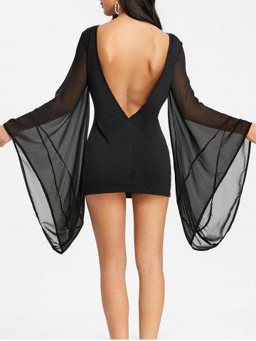 Outfits Backless Bell Sleeve Mini Bodycon Dress