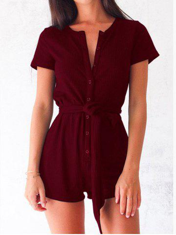 Fashion Button Up Romper with Belt
