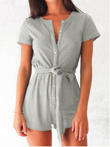 Discount Button Up Romper with Belt