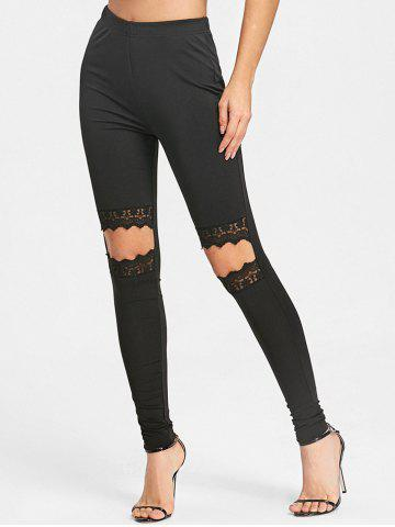 Trendy Lace Trim Knee Cut Out Leggings