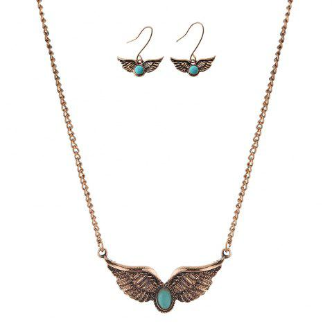 Latest Faux Turquoise Angel Wings Necklace with Earrings