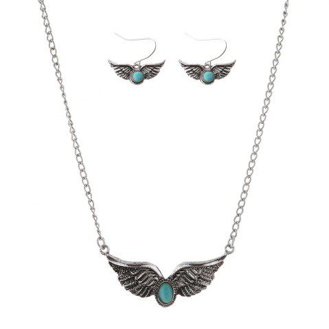 Fancy Faux Turquoise Angel Wings Necklace with Earrings