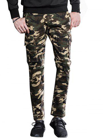 Shops Button Pockets Slimming Camouflage Cargo Pants
