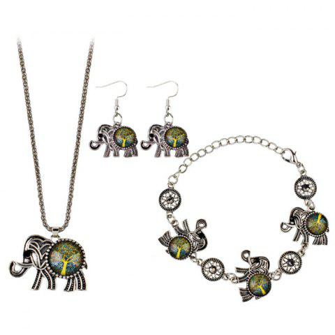 Fashion Tree of Life Elephant Necklace Bracelet with Earrings