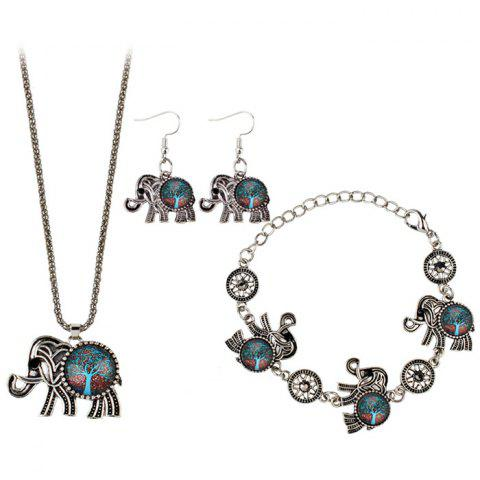 Outfits Tree of Life Elephant Necklace Bracelet with Earrings