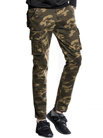 Slim Fit Multi Pockets Camo Cargo Pants