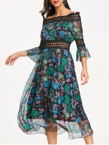 Store Bell Sleeve Printed Off The Shoulder Midi Dress