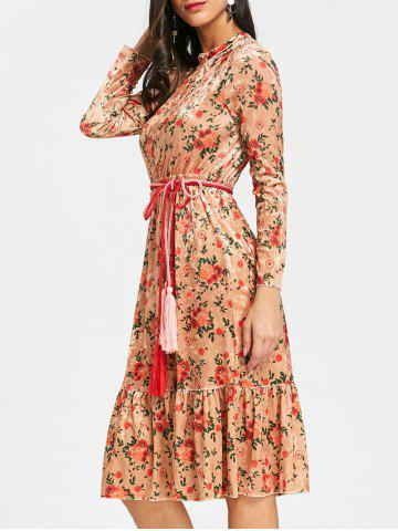Shops Floral Flounce Velvet Midi Dress