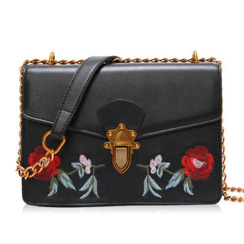 Outfit Flapped Floral Embroidered Crossbody Bag