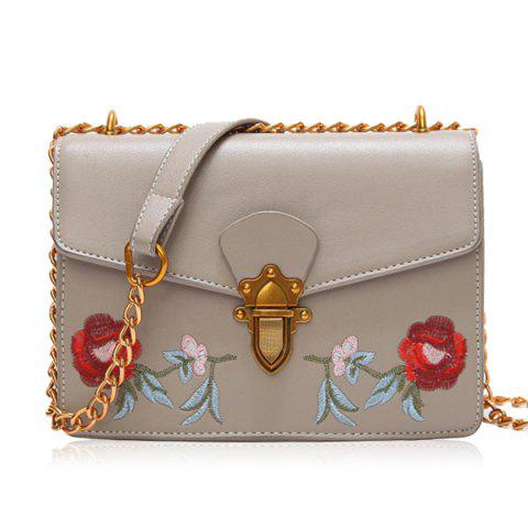 Discount Flapped Floral Embroidered Crossbody Bag