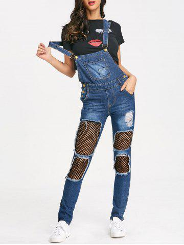 Fancy Distressed Fishnet Insert Denim Jumpsuit