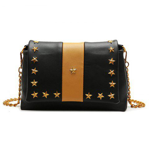 Hot Contrasting Color Stars Striped Crossbody Bag