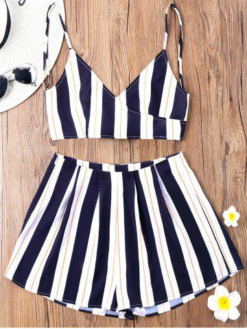 Unique Striped Cami Top with Wide Leg Shorts