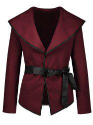 Turn Down Collar Jacket with Belt -