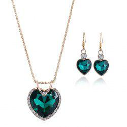 Faux Crystal Cubic Heart Pattern Necklace and Earrings Set -