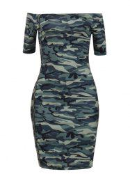 Camouflage Off The Shoulder Bodycon Dress -