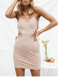 Side Lace Up Open Back Dress -