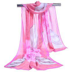 Flourishing Flowers Decorated Silky Scarf -
