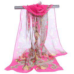 Unique Floral Pattern Embellished Silky Long Scarf -