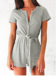 Button Up Romper with Belt -