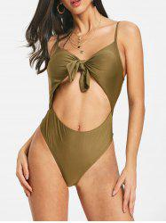 Cut Out Knot Front Spaghetti Strap Bodysuit -
