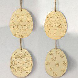 4 Pcs Wooden Easter Eggs Hanging Home Decorations -