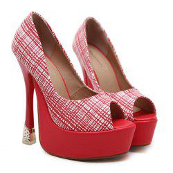 Checkered Peep Toe Platform Pumps -