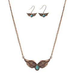 Faux Turquoise Angel Wings Necklace with Earrings -